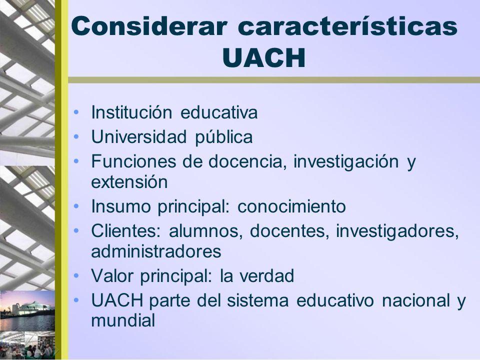 Considerar características UACH