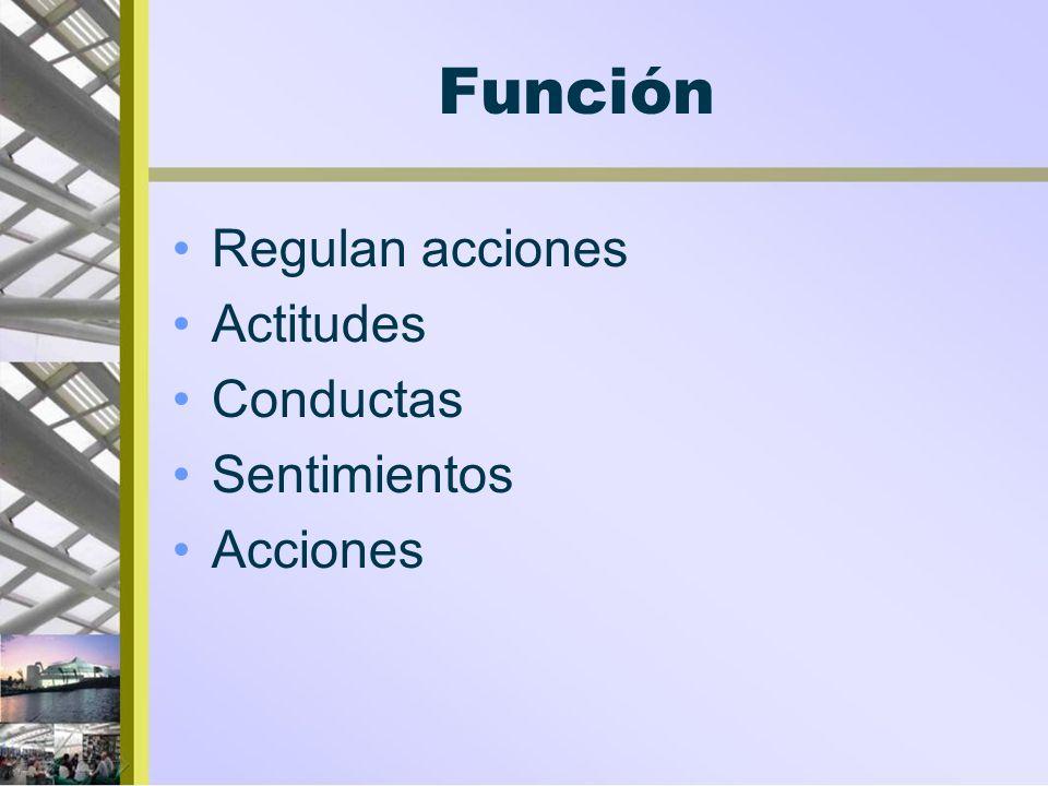 Función Regulan acciones Actitudes Conductas Sentimientos Acciones