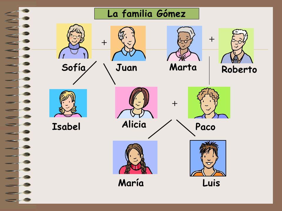 La familia Gómez + + Sofía Juan Marta Roberto + Alicia Isabel Paco María Luis