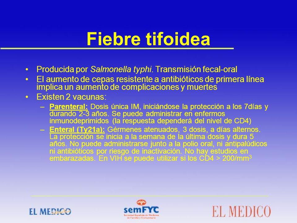 Fiebre tifoidea Producida por Salmonella typhi. Transmisión fecal-oral