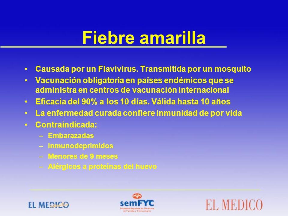 Fiebre amarilla Causada por un Flavivirus. Transmitida por un mosquito
