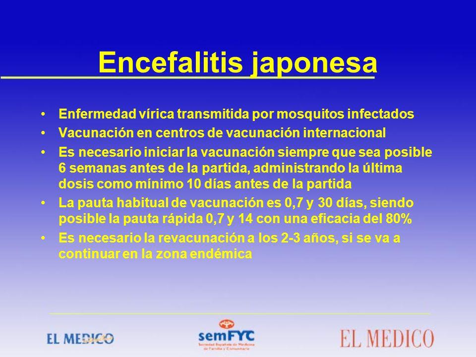 Encefalitis japonesa Enfermedad vírica transmitida por mosquitos infectados. Vacunación en centros de vacunación internacional.
