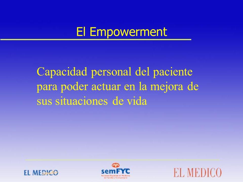El Empowerment Capacidad personal del paciente para poder actuar en la mejora de sus situaciones de vida.