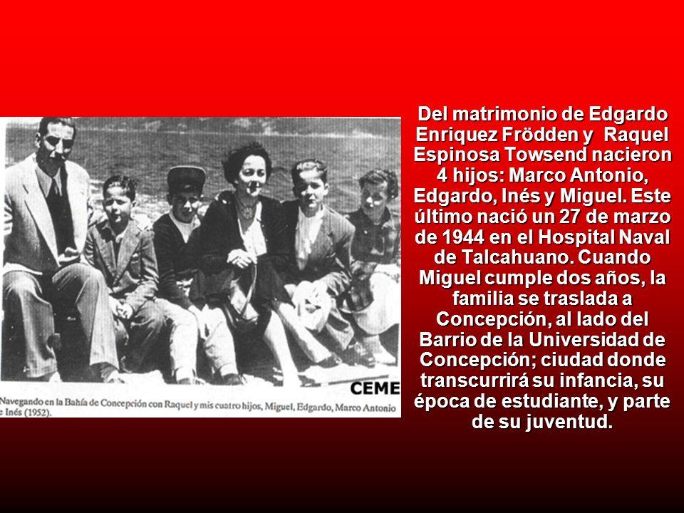 Del matrimonio de Edgardo Enriquez Frödden y Raquel Espinosa Towsend nacieron 4 hijos: Marco Antonio, Edgardo, Inés y Miguel.