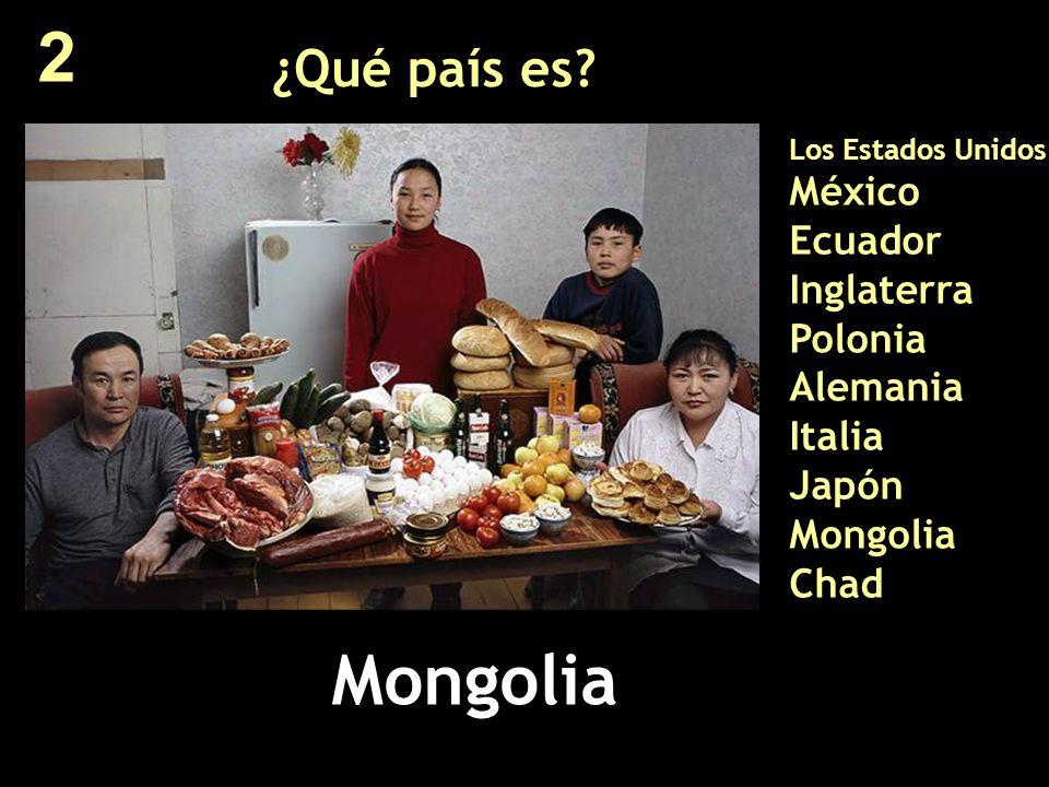 2 ¿Qué país es Los Estados Unidos México Ecuador Inglaterra Polonia Alemania Italia Japón Mongolia Chad.