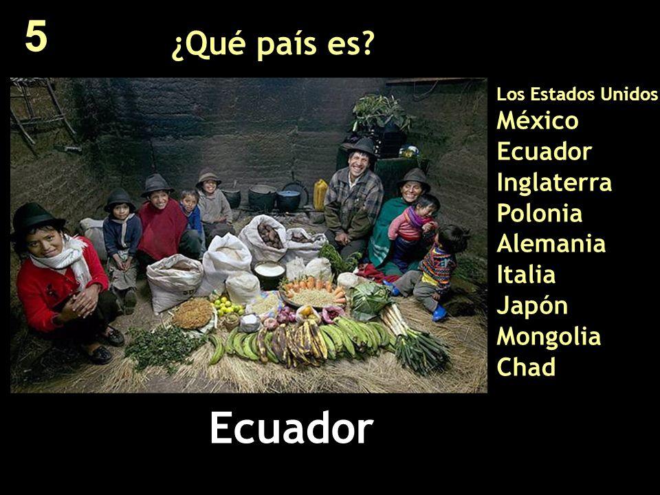 5 ¿Qué país es Los Estados Unidos México Ecuador Inglaterra Polonia Alemania Italia Japón Mongolia Chad.