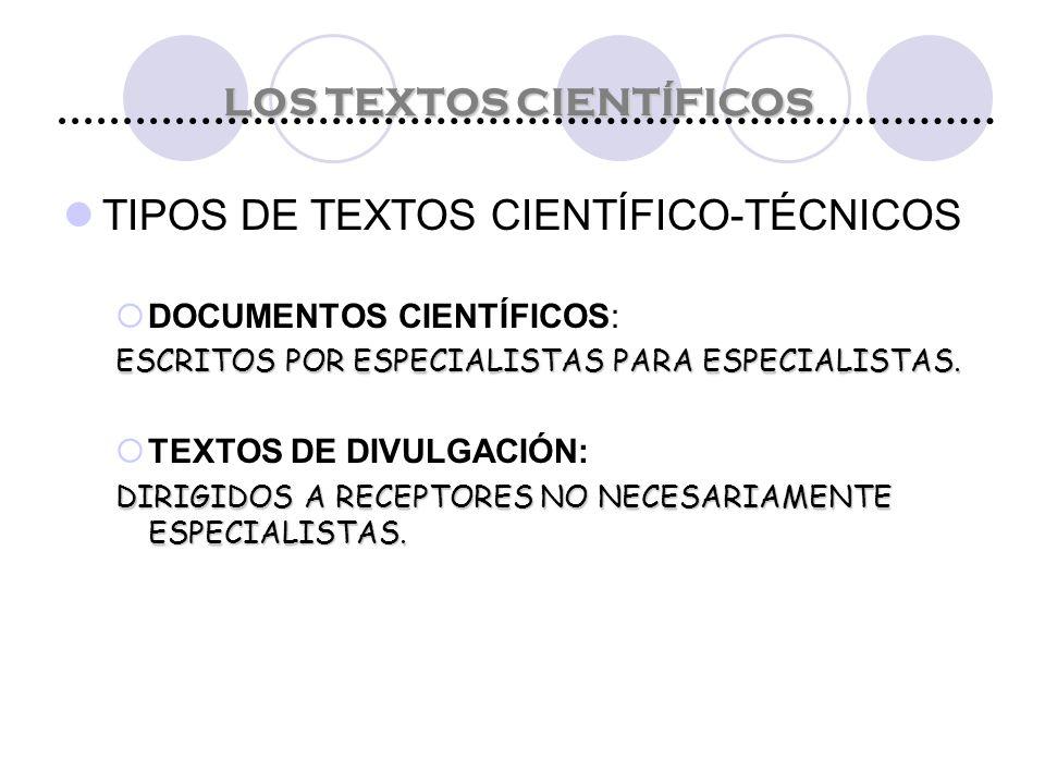 LOS TEXTOS CIENTÍFICOS