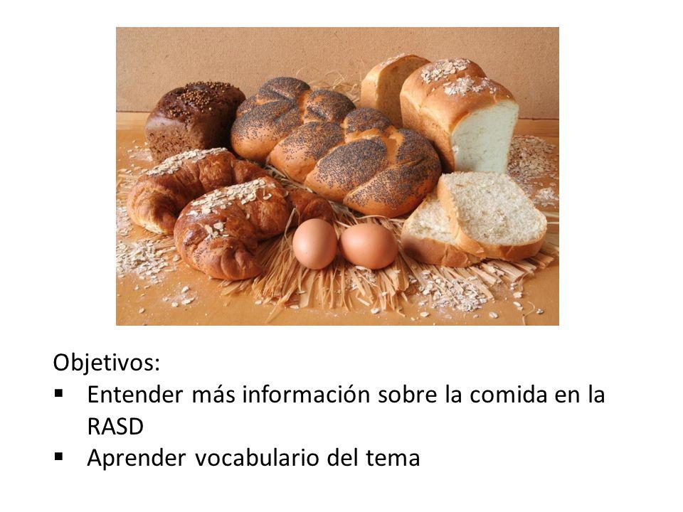Objetivos: Entender más información sobre la comida en la RASD Aprender vocabulario del tema