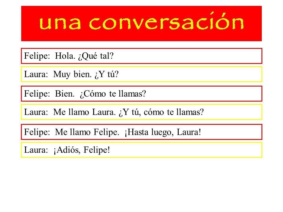 una conversación Felipe: Hola. ¿Qué tal Laura: Muy bien. ¿Y tú