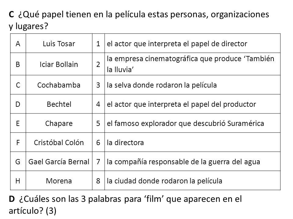 C ¿Qué papel tienen en la película estas personas, organizaciones y lugares