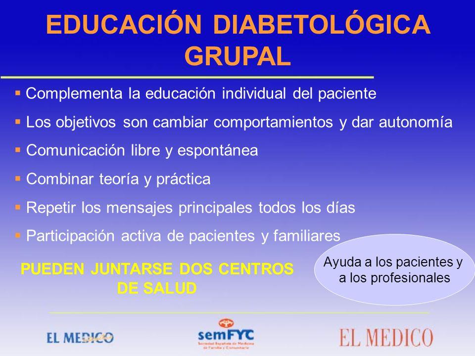 EDUCACIÓN DIABETOLÓGICA GRUPAL PUEDEN JUNTARSE DOS CENTROS DE SALUD