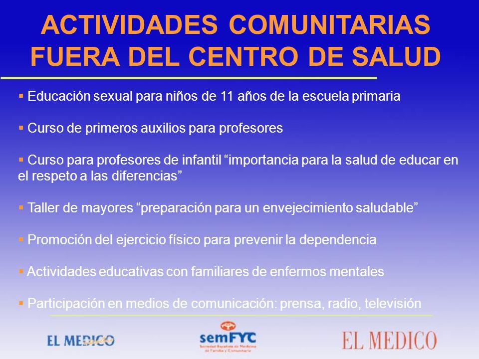 ACTIVIDADES COMUNITARIAS FUERA DEL CENTRO DE SALUD