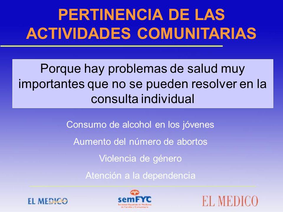PERTINENCIA DE LAS ACTIVIDADES COMUNITARIAS
