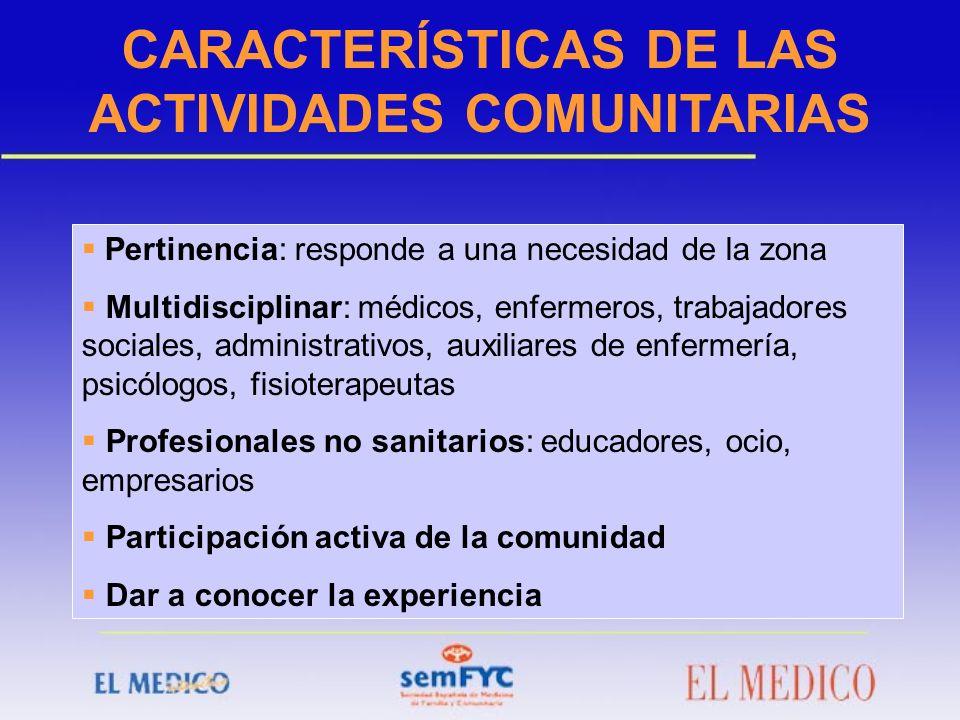 CARACTERÍSTICAS DE LAS ACTIVIDADES COMUNITARIAS