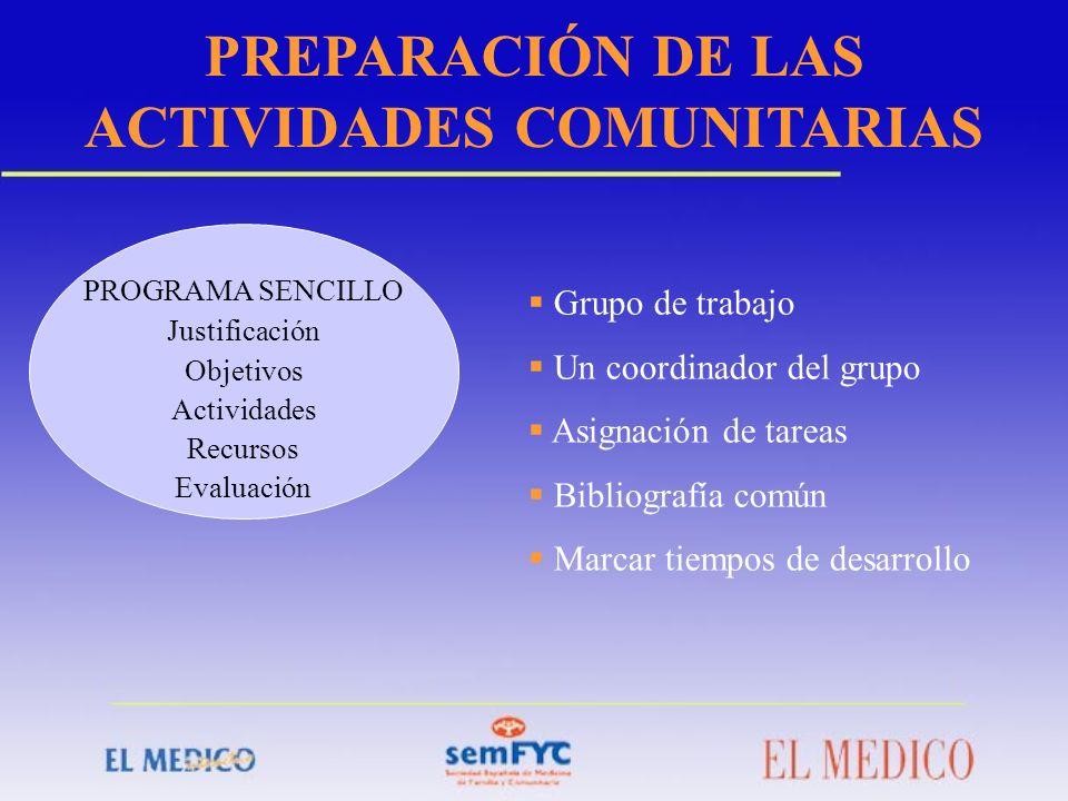 PREPARACIÓN DE LAS ACTIVIDADES COMUNITARIAS