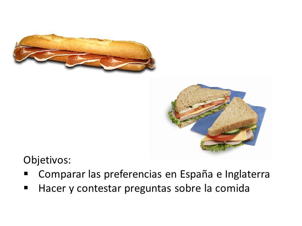 Objetivos: Comparar las preferencias en España e Inglaterra.