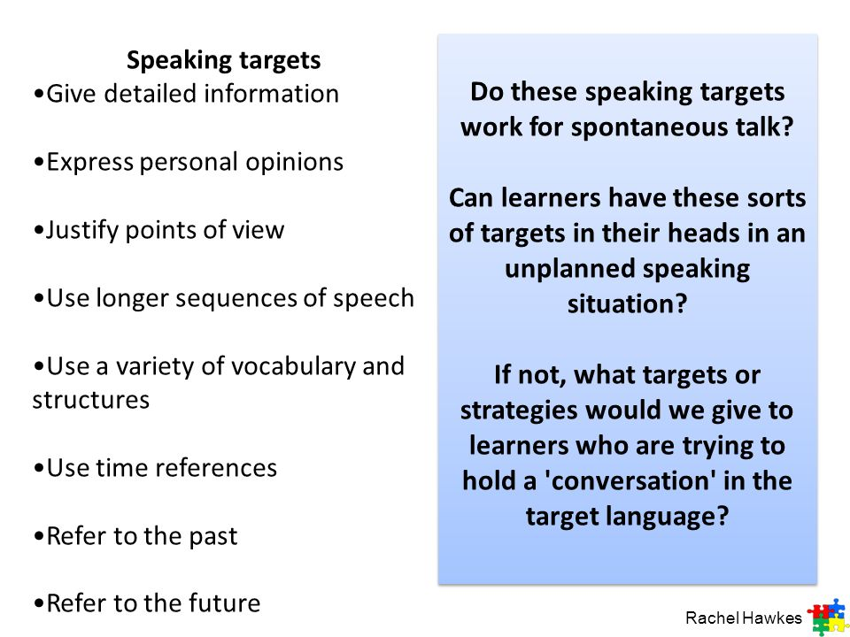 Speaking targets Give detailed information. Express personal opinions. Justify points of view. Use longer sequences of speech.