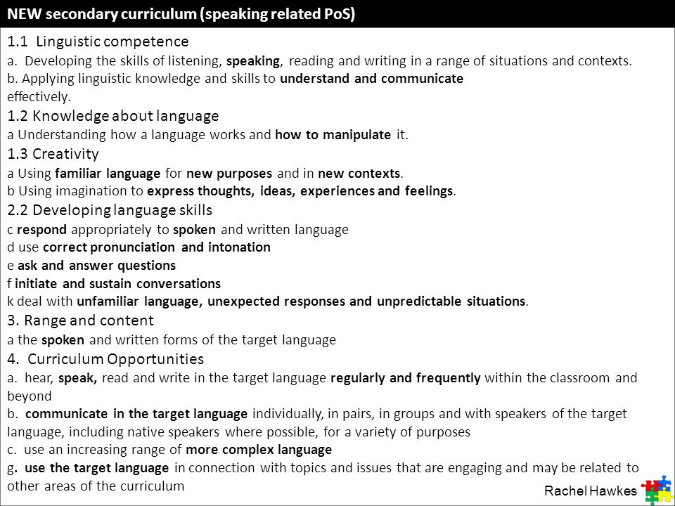 NEW secondary curriculum (speaking related PoS)