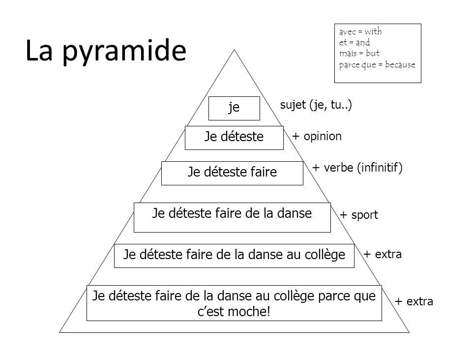 La pyramide je Je déteste Je déteste faire