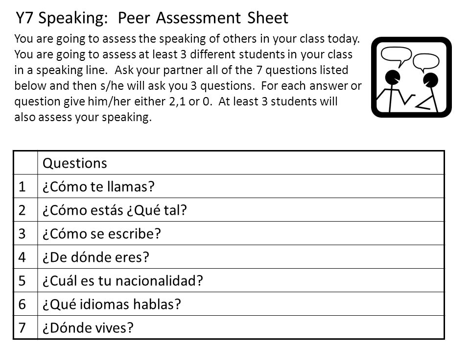 Y7 Speaking: Peer Assessment Sheet