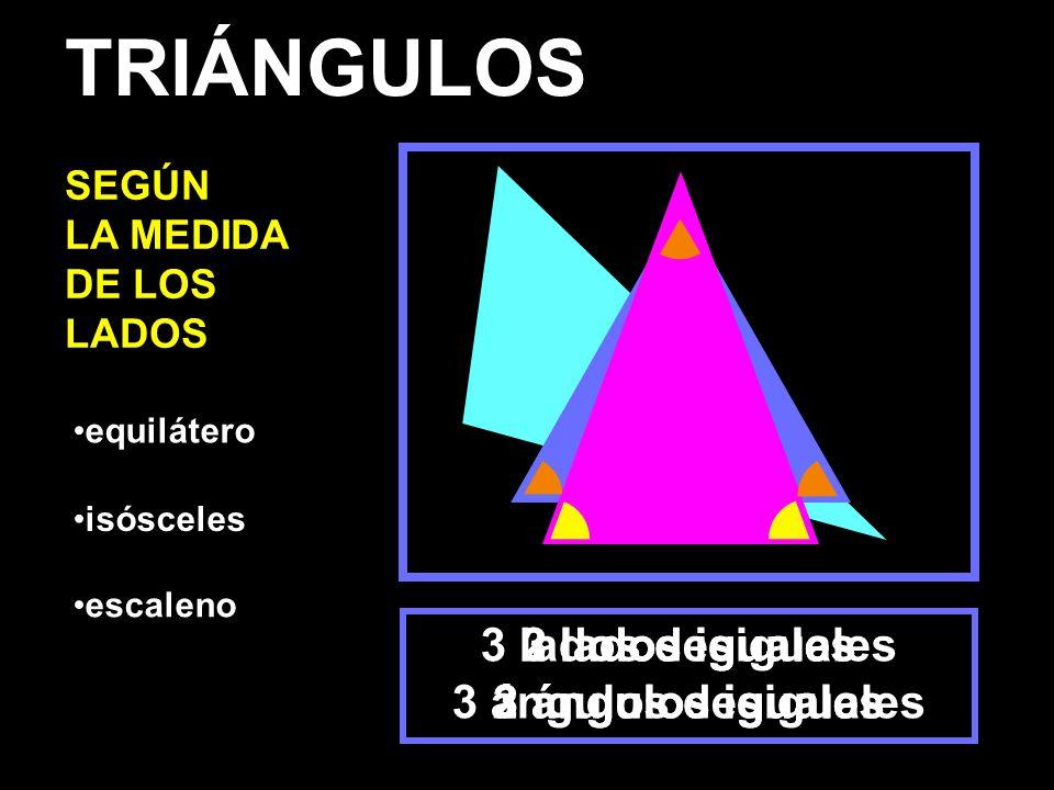 TRIÁNGULOS 3 lados iguales 3 ángulos iguales 2 lados iguales