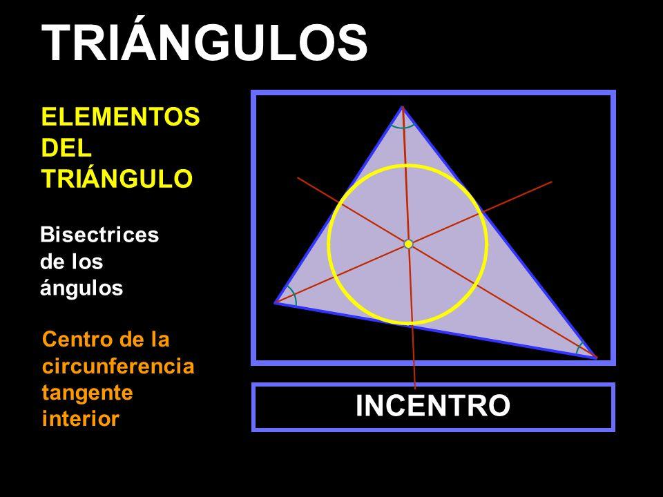 TRIÁNGULOS INCENTRO ELEMENTOS DEL TRIÁNGULO Bisectrices de los ángulos