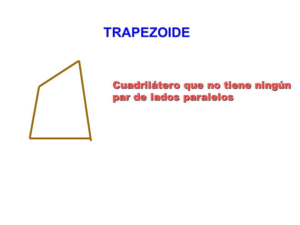 TRAPEZOIDE Cuadrilátero que no tiene ningún par de lados paralelos