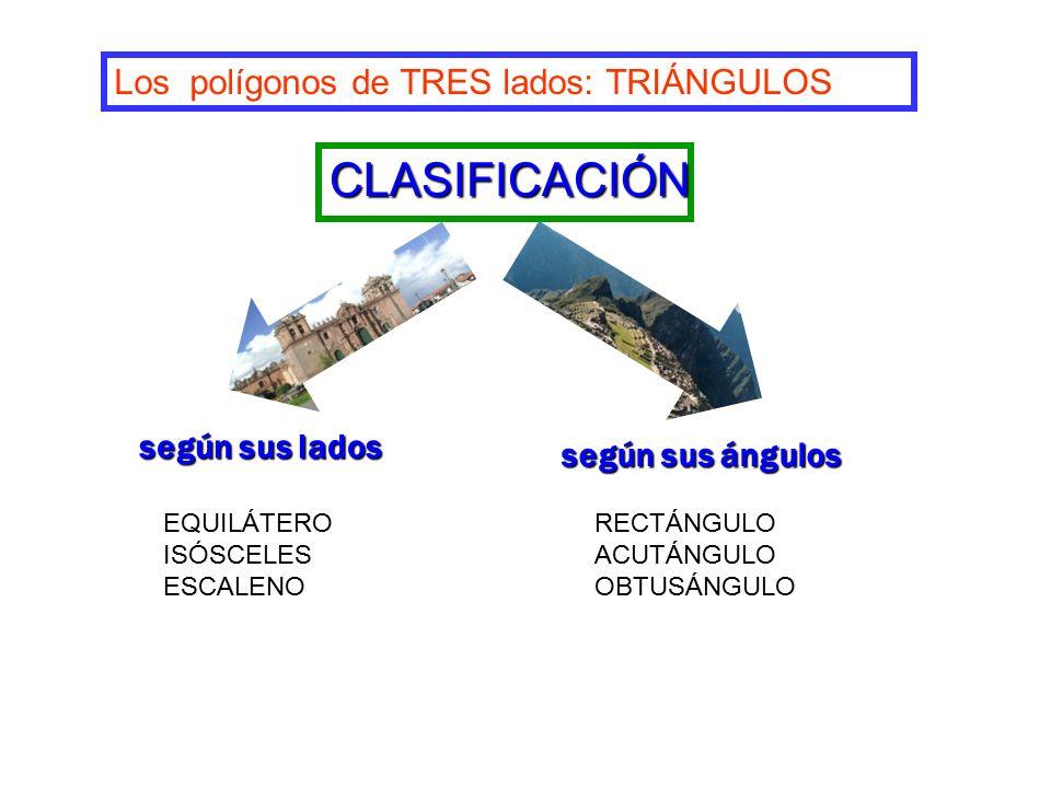 CLASIFICACIÓN Los polígonos de TRES lados: TRIÁNGULOS según sus lados