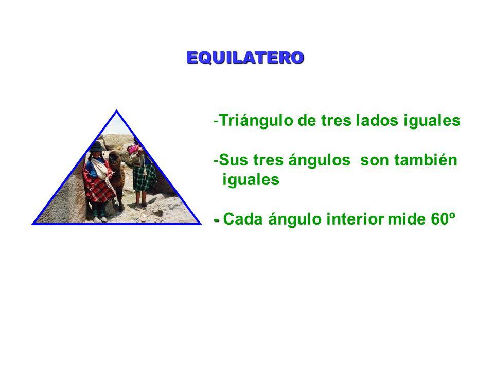 EQUILATERO Triángulo de tres lados iguales. Sus tres ángulos son también.