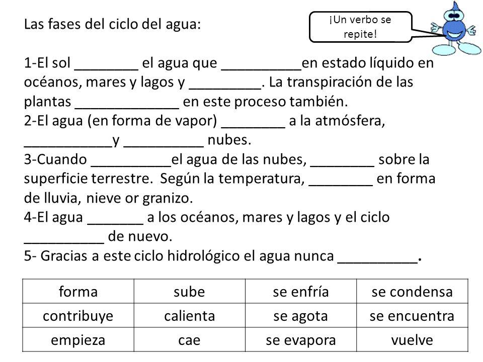 Las fases del ciclo del agua: 1-El sol ________ el agua que __________en estado líquido en océanos, mares y lagos y _________. La transpiración de las plantas _____________ en este proceso también. 2-El agua (en forma de vapor) ________ a la atmósfera, ___________y __________ nubes. 3-Cuando __________el agua de las nubes, ________ sobre la superficie terrestre. Según la temperatura, ________ en forma de lluvia, nieve or granizo. 4-El agua _______ a los océanos, mares y lagos y el ciclo __________ de nuevo. 5- Gracias a este ciclo hidrológico el agua nunca __________.