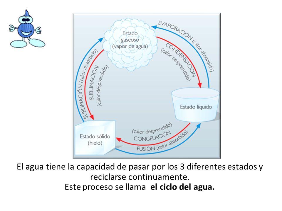 El agua tiene la capacidad de pasar por los 3 diferentes estados y reciclarse continuamente.
