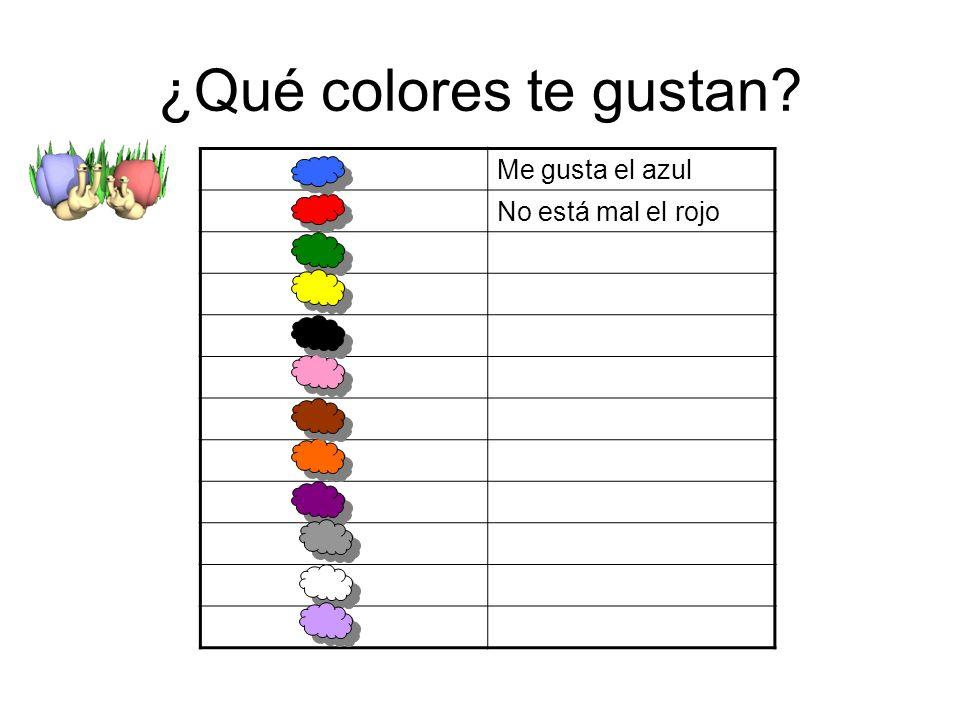 ¿Qué colores te gustan Me gusta el azul No está mal el rojo