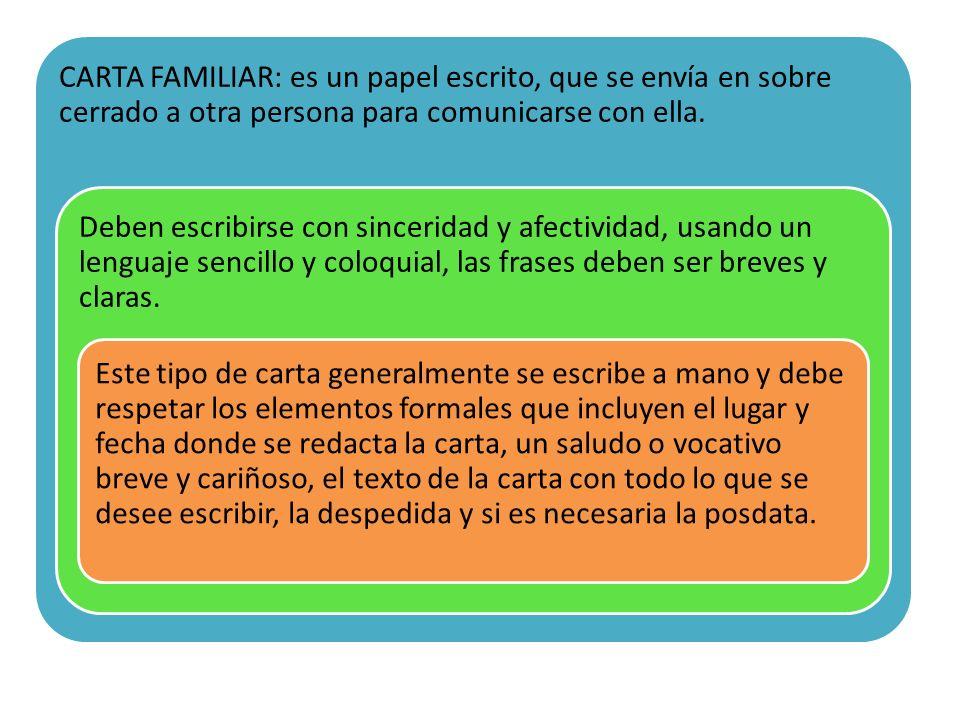 CARTA FAMILIAR: es un papel escrito, que se envía en sobre cerrado a otra persona para comunicarse con ella.
