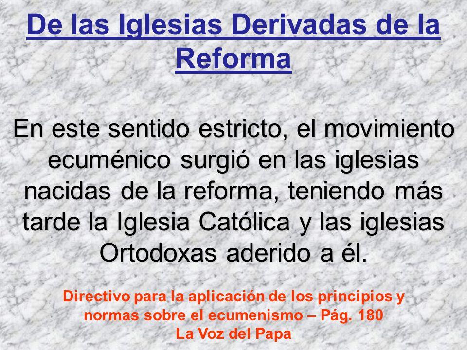 De las Iglesias Derivadas de la Reforma