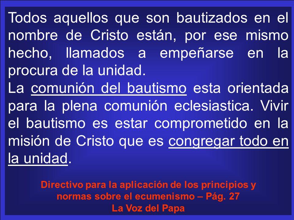 Todos aquellos que son bautizados en el nombre de Cristo están, por ese mismo hecho, llamados a empeñarse en la procura de la unidad.