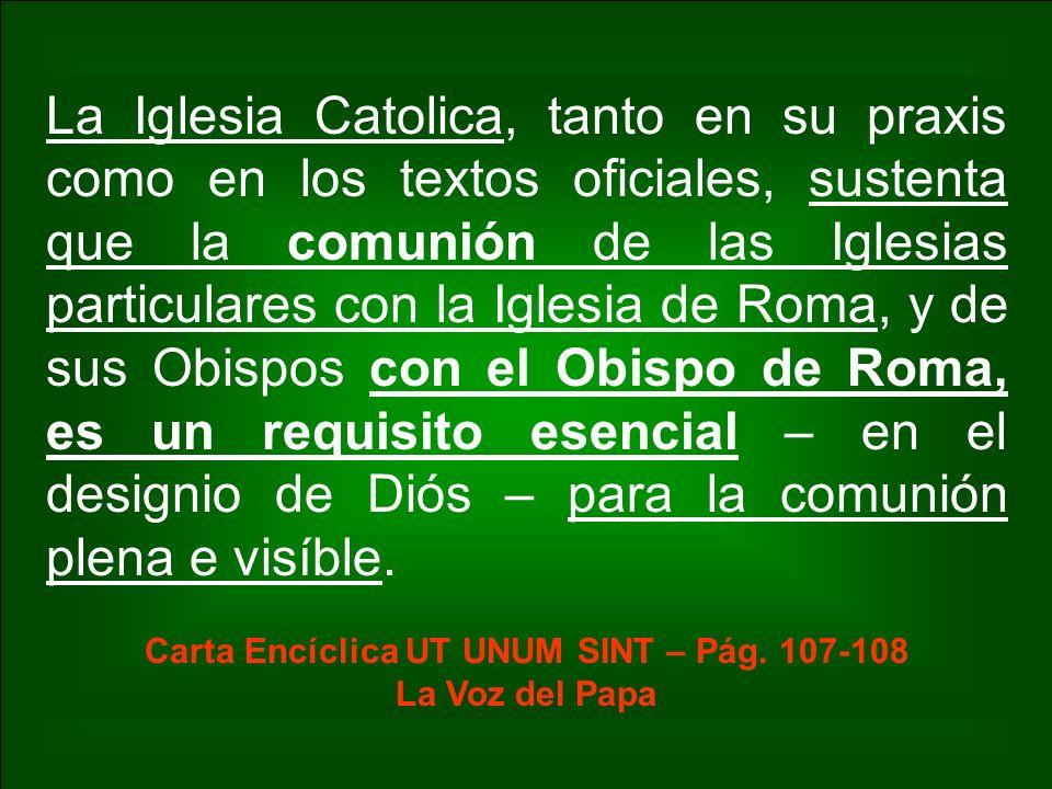 Carta Encíclica UT UNUM SINT – Pág. 107-108