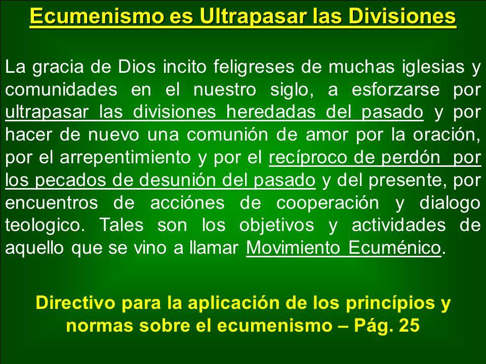 Ecumenismo es Ultrapasar las Divisiones