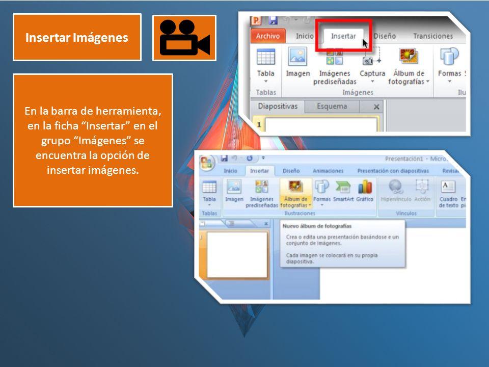 Insertar Imágenes En la barra de herramienta, en la ficha Insertar en el grupo Imágenes se encuentra la opción de insertar imágenes.