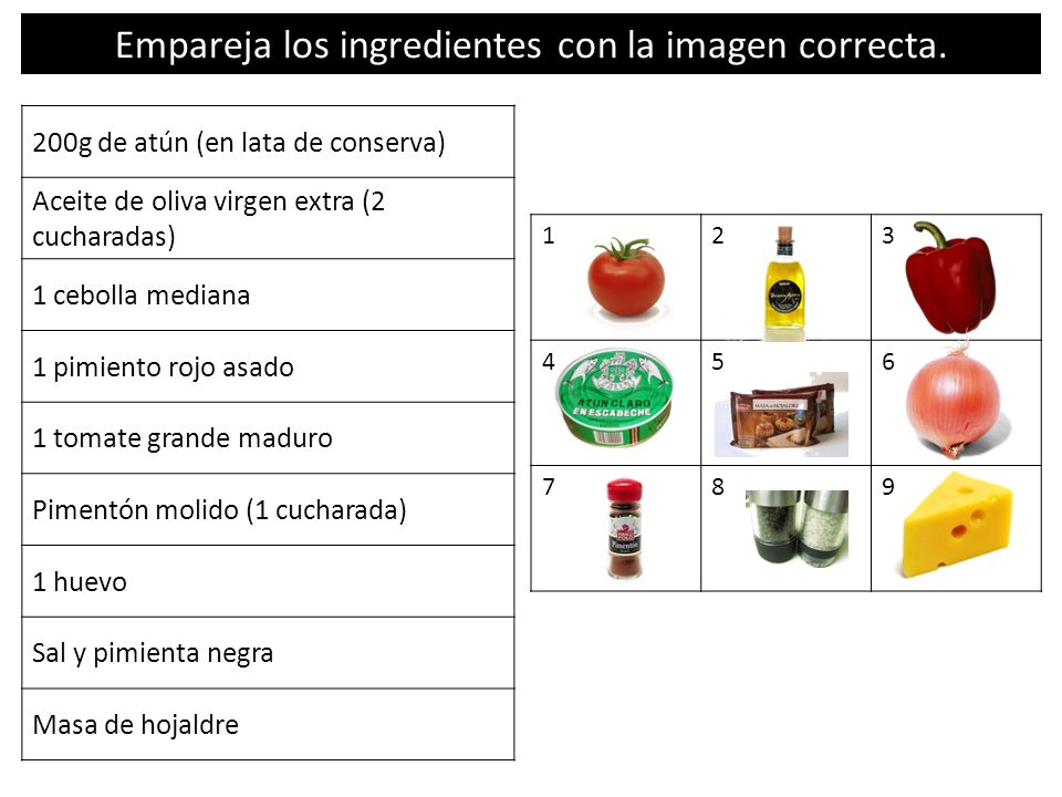Empareja los ingredientes con la imagen correcta.