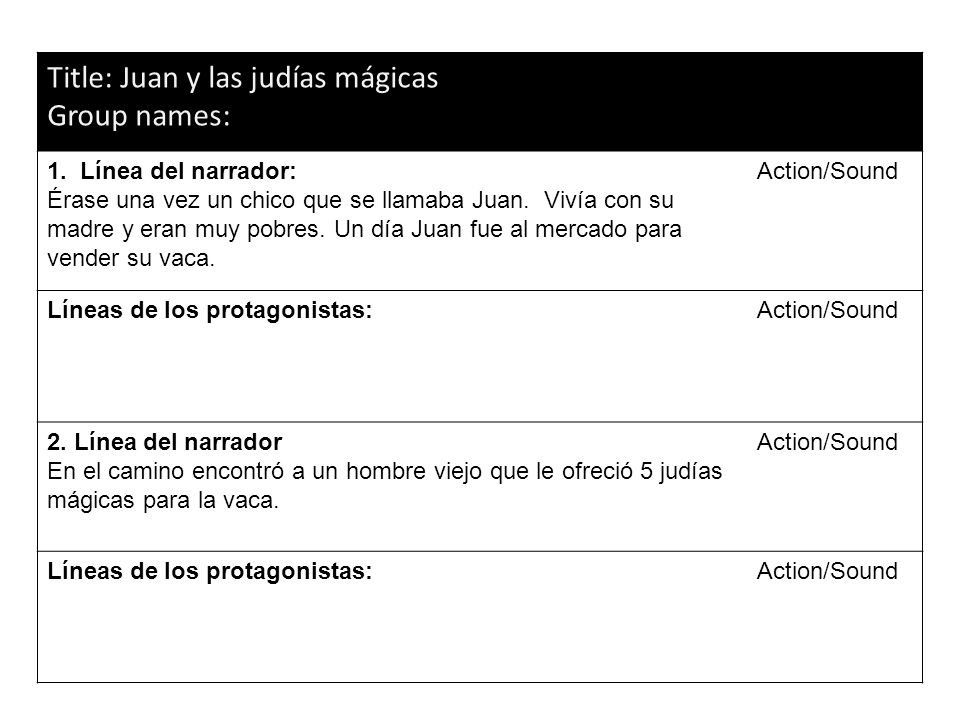 Title: Juan y las judías mágicas Group names: