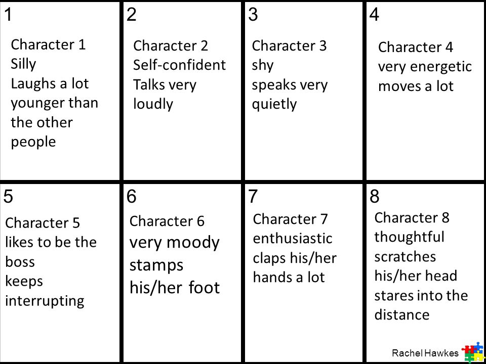 12. 3. 4. 5. 6. 7. 8. Character 1 Silly Laughs a lot younger than the other people. Character 2 Self-confident Talks very loudly.