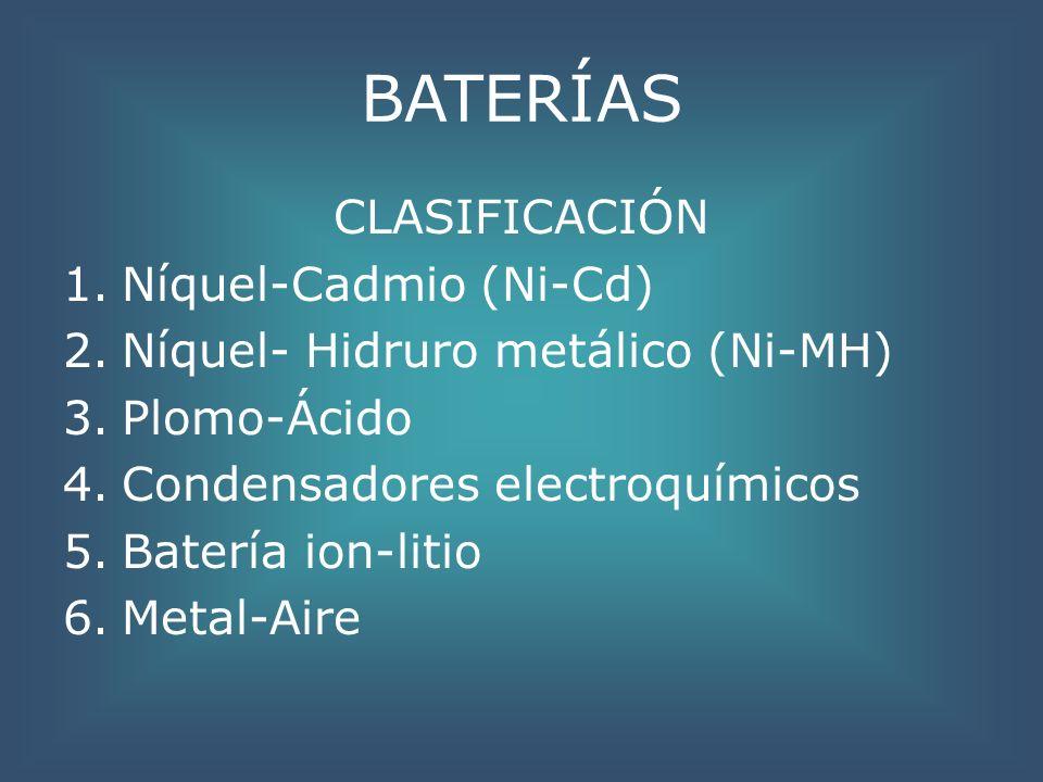 BATERÍAS CLASIFICACIÓN Níquel-Cadmio (Ni-Cd)
