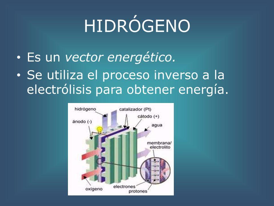 HIDRÓGENO Es un vector energético.