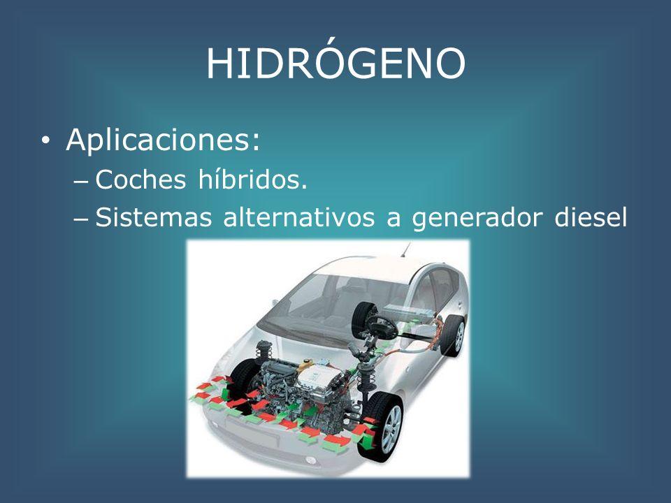 HIDRÓGENO Aplicaciones: Coches híbridos.