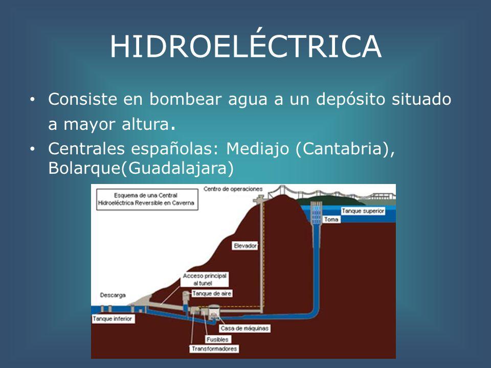 HIDROELÉCTRICA Consiste en bombear agua a un depósito situado a mayor altura.