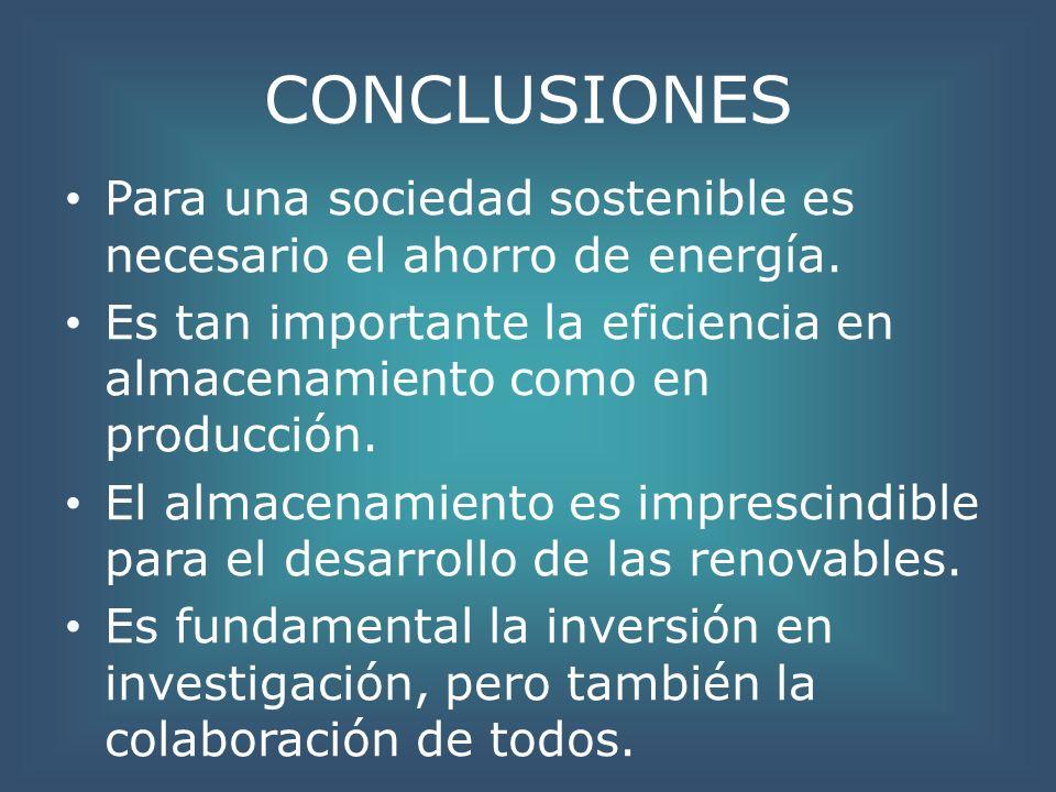 CONCLUSIONES Para una sociedad sostenible es necesario el ahorro de energía. Es tan importante la eficiencia en almacenamiento como en producción.