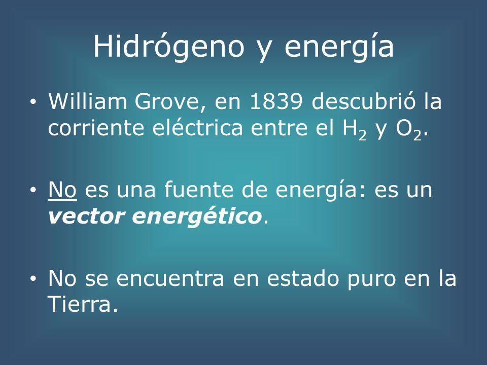 Hidrógeno y energía William Grove, en 1839 descubrió la corriente eléctrica entre el H2 y O2. No es una fuente de energía: es un vector energético.