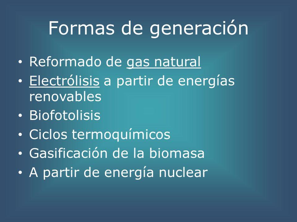 Formas de generación Reformado de gas natural