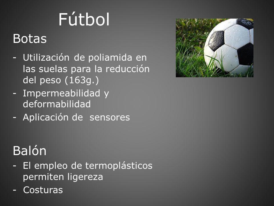 Fútbol Botas. Utilización de poliamida en las suelas para la reducción del peso (163g.) Impermeabilidad y deformabilidad.