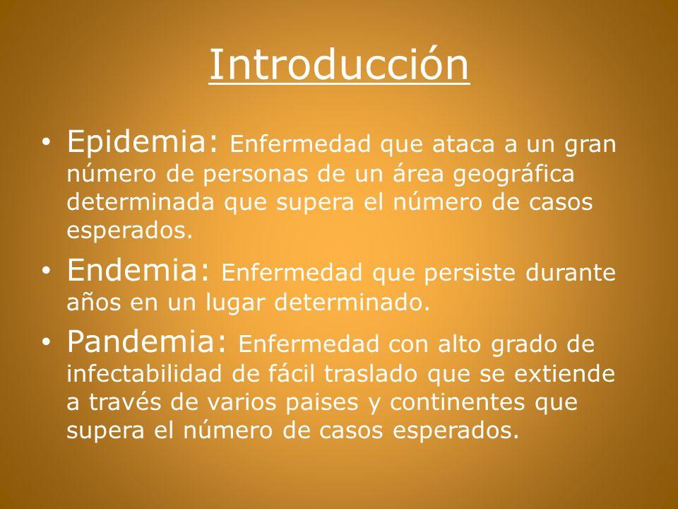 Introducción Epidemia: Enfermedad que ataca a un gran número de personas de un área geográfica determinada que supera el número de casos esperados.